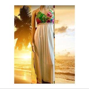 Karlie Tapestry Halter Maxi Dress